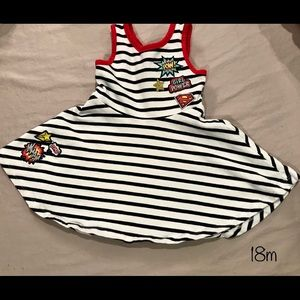 Striped dress with patches